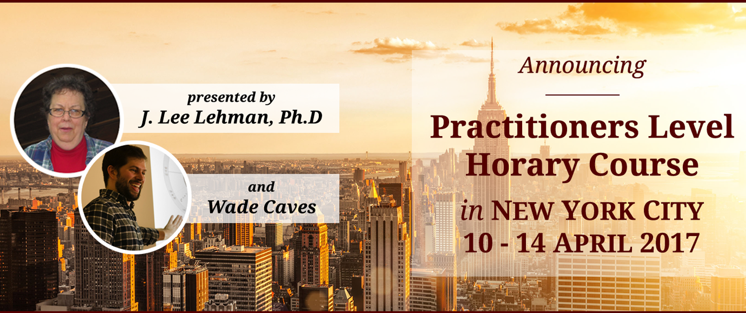 STA Practitioners-Level Horary Course: New York City - 10-14 April 2017